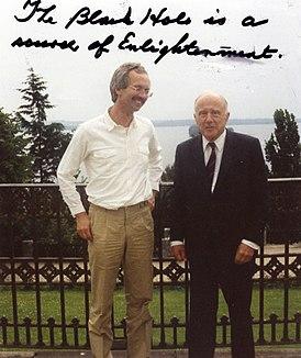 Eckehard W. Mielke and John Archibald Wheeler1985.jpg