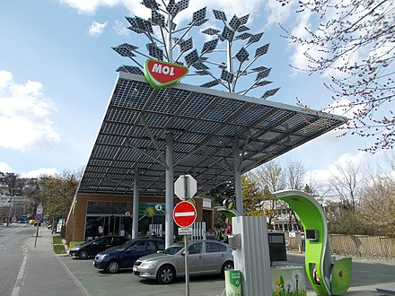 MOL Group solar powered filling station in Budapest. It is the second most valuable company in Central and Eastern Europe Eco MOL (solar powered) petrol station. - Budapest, XII. distr. Istenhegyi St., 55.JPG
