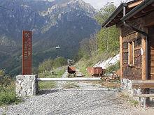 L'ingresso dell'ex sito minerario di Costa Jesl, inserito nell'Ecomuseo delle Miniere di Gorno (BG)