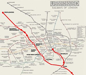 Edgware Road Tube schemes - Route of the proposed Kearney tube, one of several unrealised Tube plans for the Edgware Road