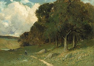 Untitled (man on path with trees in background)