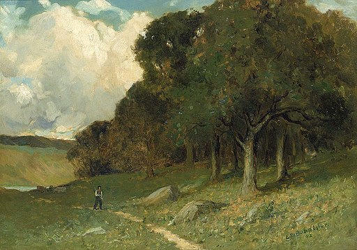 Edward Mitchell Bannister - Untitled (man on path with trees in background) - 1983.95.86 - Smithsonian American Art Museum