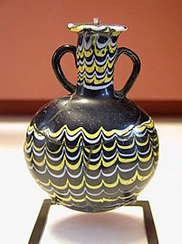 Ancient Egyptian glass jar from the New Kingdom