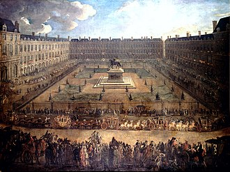 Paris in the 18th century - Place Royale, now Place des Vosges, in 1709. The square was a fashionable area until the French Revolution, though most of the nobility have left beyond Saint-Germain des Pres during the early 18th century