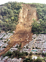 A landslide caused by one of the 2001 El Salvador earthquakes