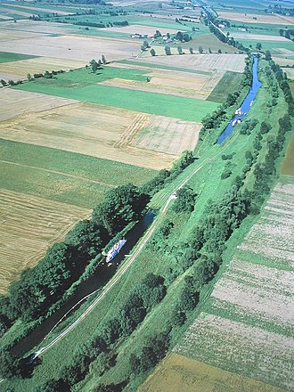 Elbląg Canal - Aerial view, showing one of the track sections
