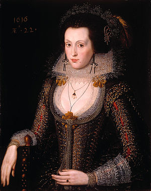 1600–50 in Western European fashion - Elizabeth Poulett wears a low rounded neckline and a small ruff with paired with a winged collar. Her tight sleeves have pronounced shoulder wings and deep lace cuffs. English court costume, 1616