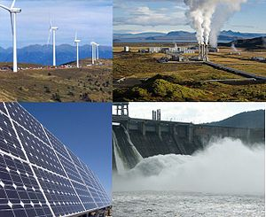 English: a collage about renewable energy. see...