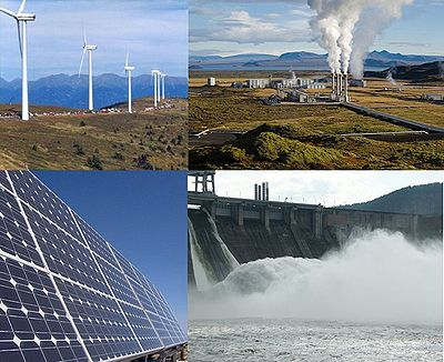 Esempi di energie rinnovabili (dall'alto a sinistra, in senso orario): energia eolica, geotermica, idroelettrica e solare.
