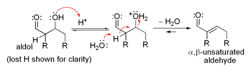 Mechanism for acid-catalyzed dehydration of an aldol