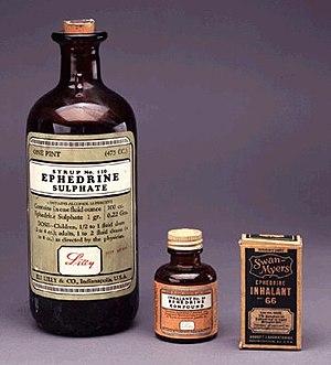 Ephedrine - Ephedrine Sulphate (1932), Ephedrine Compound (1932), and Swan-Myers Ephedrine Inhalant No. 66 (circa 1940)