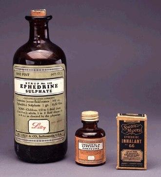 Ephedra - Bottle of ephedrine, an alkaloid found in ephedra