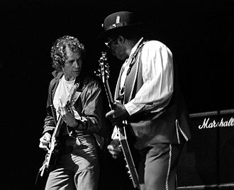 Eric Bell - Eric Bell and Bo Diddley performing with Mainsqueeze in Novi Sad, former Yugoslavia, 27 February 1984.