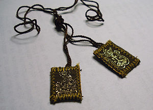 "Scapular of Our Lady of Mount Carmel - The Scapular of Our Lady of Mount Carmel, or ""Brown Scapular""."