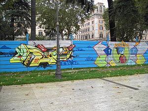 Piazza Vittorio Emanuele II (Rome) - Image: Esquilino piazza Vittorio murale 0511 02