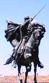 Estatua del Cid, en Burgos, obra de Juan Cristóbal González Quesada, inaugurada en 1955