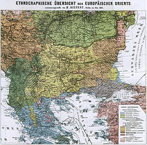 Ethnic composition map of the Balkans by the German geographer and cartographer Heinrich Kiepert in 1882 Ethnic map of Balkans - german 1876.jpg