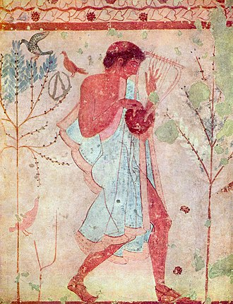 Etruscan art - Fresco of an Etruscan musician with a barbiton, Tomb of the Triclinium, Tarquinia