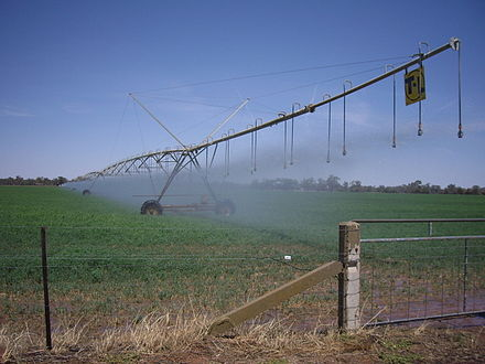 A centre pivot irrigation system near Euberta. Much of the agricultural industry in the Riverina relies on irrigation. EubertaCentrePivotIrrigation.jpg