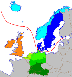 The Germanic languages in Europe ?????Dutch (Low Franconian, West Germanic) ?????Low German (West Germanic) ?????Central German (High German, West Germanic) ?????Upper German (High German, West Germanic) ?????Anglic (Anglo-Frisian, West Germanic) ?????Frisian (Anglo-Frisian, West Germanic) ?????East Scandinavian ?????West Scandinavian ?????Line dividing the North and West Germanic languages.