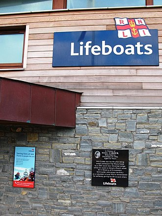 Exmouth Lifeboat Station - A memorial plaque for Will Carder on the 2009 station