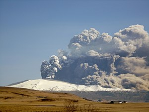 Volcanic ash - Ash plume rising from Eyjafjallajökull on April 17, 2010.