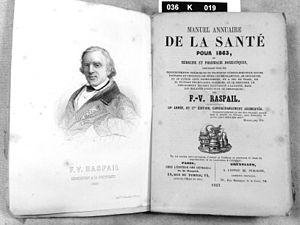 """François-Vincent Raspail - FV Raspail, titelpagina uit zijn """"Manuel annuaire de la santé"""" uit 1863"""