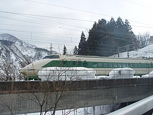 200 Series Shinkansen - 12-car set F8 on Gala-Yuzawa Line with pointed nose, January 2006