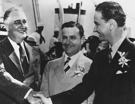 President Franklin D. Roosevelt, Governor James Allred of Texas, and Johnson, 1937. Johnson later used an edited version of this photo, with Allred airbrushed out, in his 1941 senatorial campaign. FDR-LBJ.png