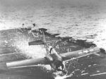 FM-2 Wildcat crash landing on escort carrier c1944.jpg