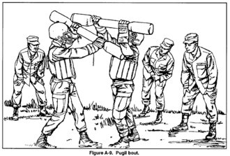 Pugil stick - Pugil bouts are a frequent part of combatives training in use of the bayonet.