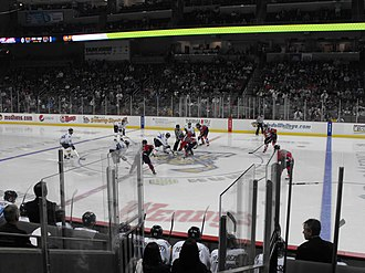 ECHL - ECHL action, October 2012 in Toledo, Ohio between the Kalamazoo Wings and the Toledo Walleye.