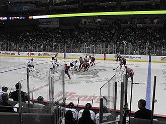 ECHL - ECHL action, October 2012 in Toledo, Ohio between the Kalamazoo Wings and the Toledo Walleye.
