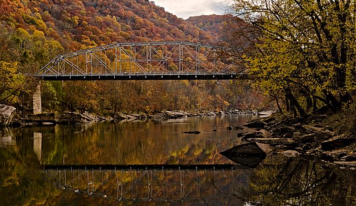 The Fayette Station Bridge, also known as the Tunney Hunsaker Bridge. This bridge was superseded by the famous New River Gorge Bridge in 1977 as the primary New River crossing at Fayetteville, West Virginia.