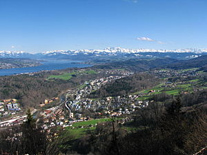 Sihl Valley - Sihl valley to the southeast, Adliswil, Langnau am Albis, Zimmerberg and Lake Zürich as seen from Felsenegg