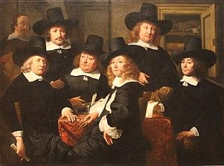 Six regents and the beadle of the Nieuwe Zijds institute for the outdoor relief of the poor