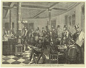 Fifth Avenue Hotel - Illustration of the Fifth Avenue Hotel reading room, Every Saturday (1871)