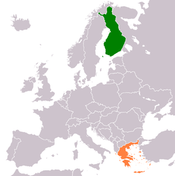 Map indicating locations of Finland and Greece