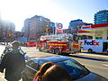 Fire trucks turn West on Front, fromt station 333, 2016 04 15 (7) (26435691391).jpg