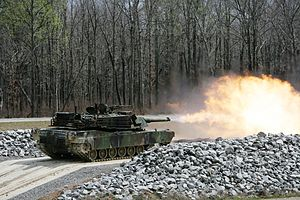 Fort Pickett - M1A1 Abrams firing at a Fort Pickett range, 2008.
