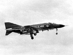 McDonnell Douglas F-4 Phantom II in UK service - The first British Phantom lands at the McDonnell plant in St Louis, Missouri in 1966