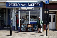 Fish & chip café and shop at Margate Kent England.jpg