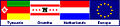 Flag combination of Tynaarlo, Drenthe, the Netherlands and Europe - German names.jpg