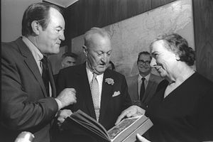 William Benton (senator) - William Benton (C) with Hubert Humphrey and Golda Meir, Jerusalem 1970