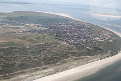 Aerial view o Langeoog frae the north