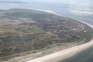 Langeoog - Aerial view of Langeoog from the north