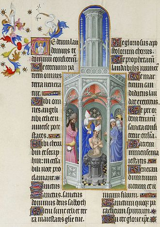 Très Riches Heures du Duc de Berry - The Baptism of Saint Augustine, folio 37v