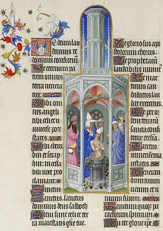Très Riches Heures du Duc de Berry - The Baptism of Saint Augustine, folio 37v