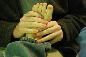 Cracking joints - Cracking of the joints in the foot is sometimes used for massage