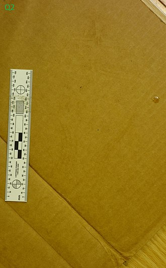 Forensic footwear evidence - Image: Footwear impressions at crime scene Q2 latent